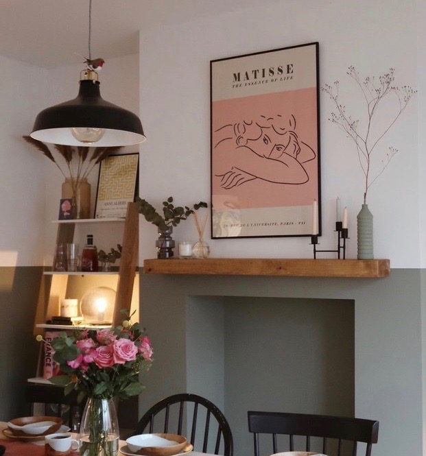 slimline rustic floating mantel shelf in living room with two tone walls
