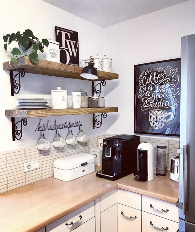 rustic shelves with brackets in small kitchen.