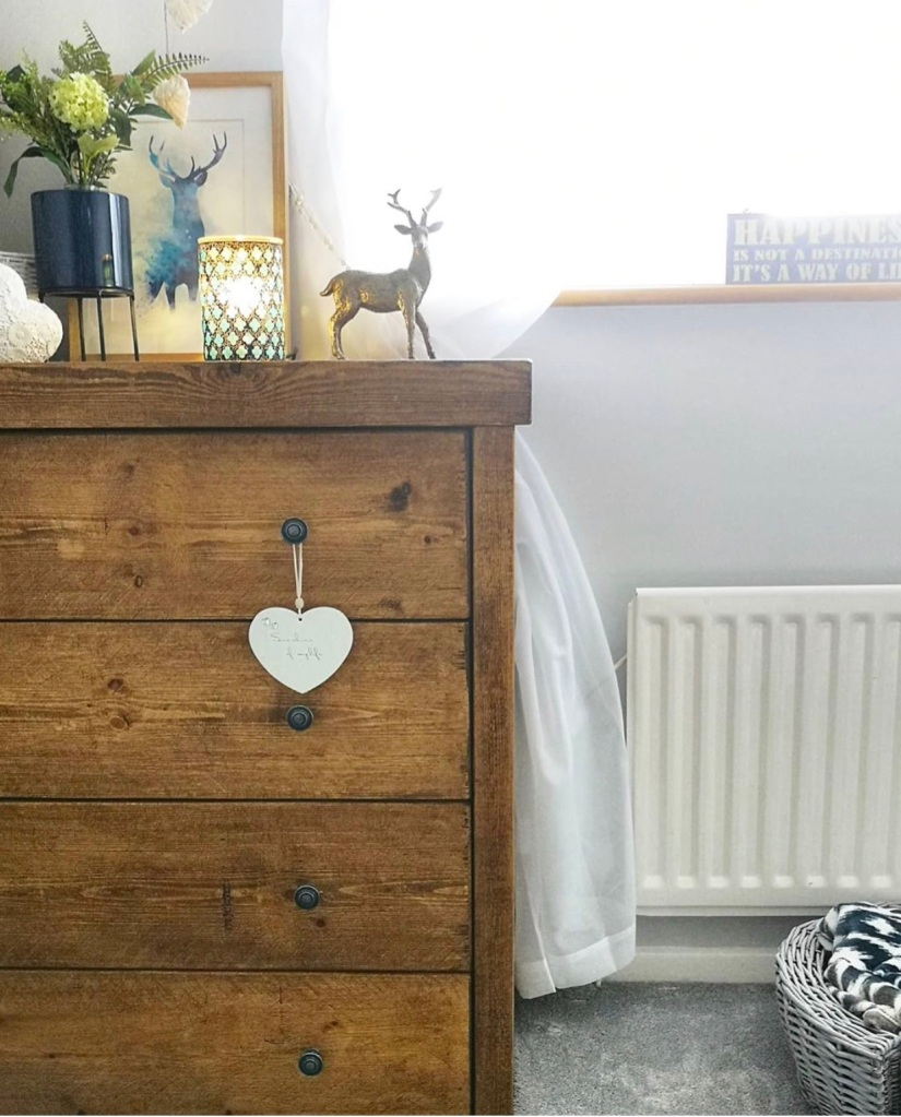 chunky rustic solid wood chest of four drawers