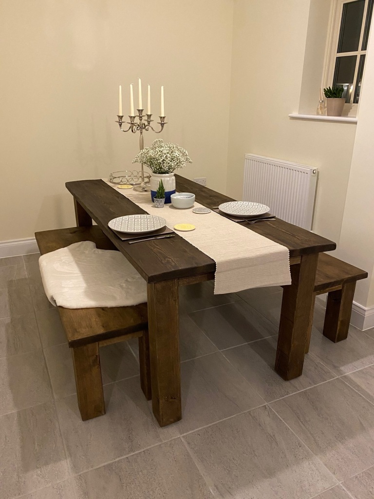 dining table and benches made from solid wood