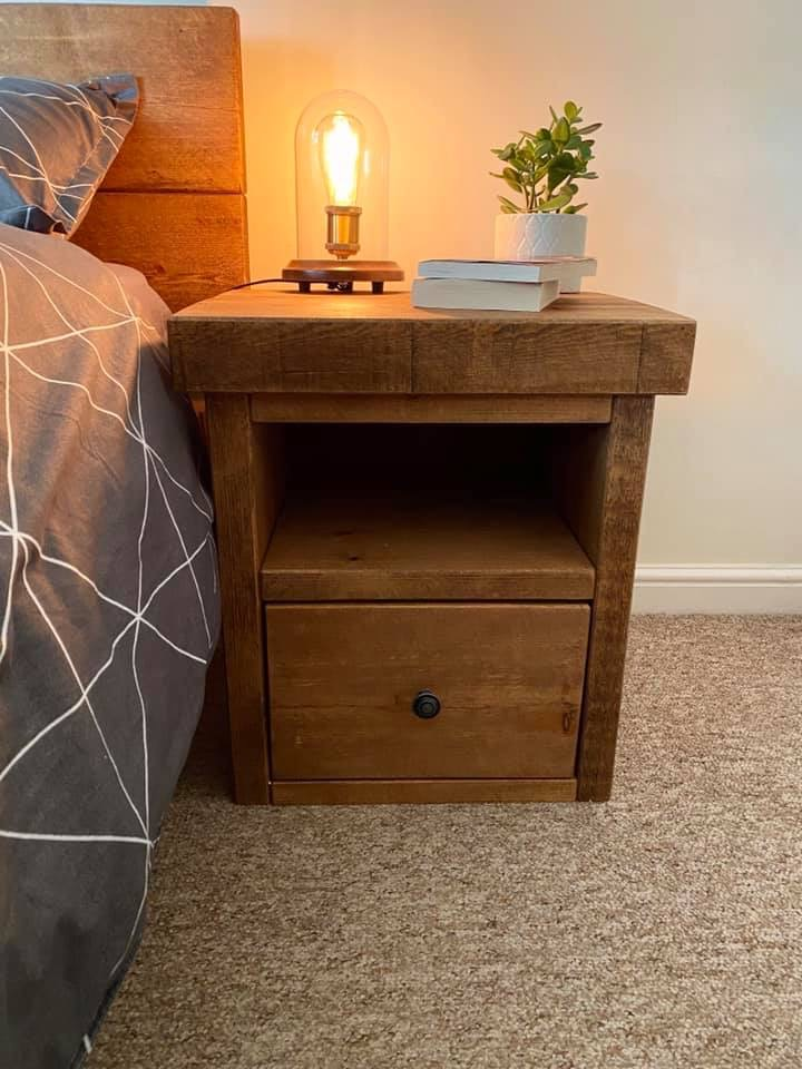 chunky rustic bedside table