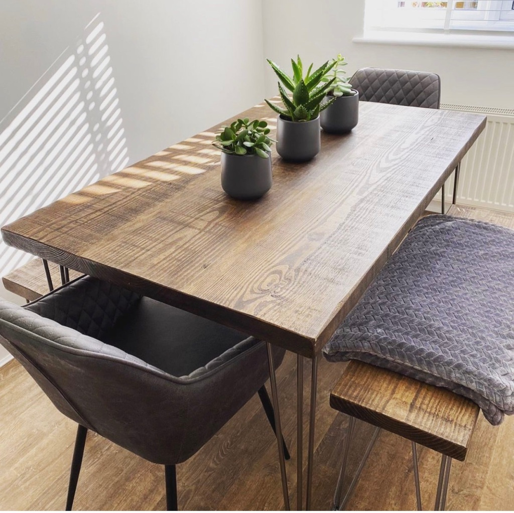 Ouseburn Dining Table with hairpin legs and matching benches in a customers' home.