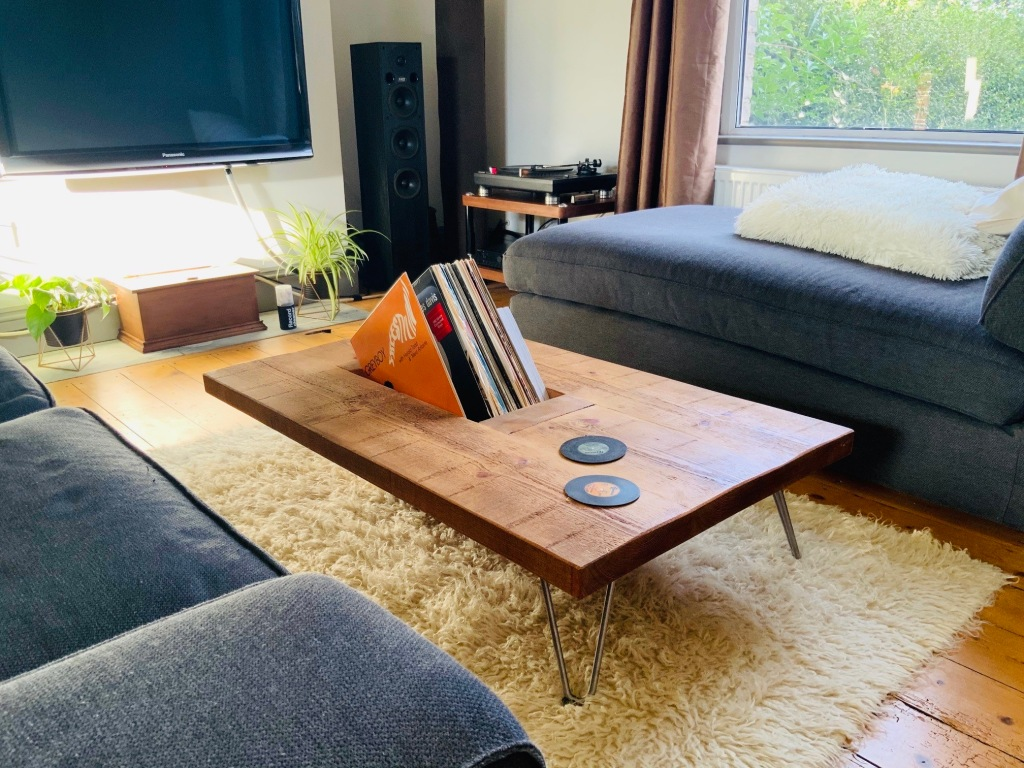 wooden coffee table with hairpin legs