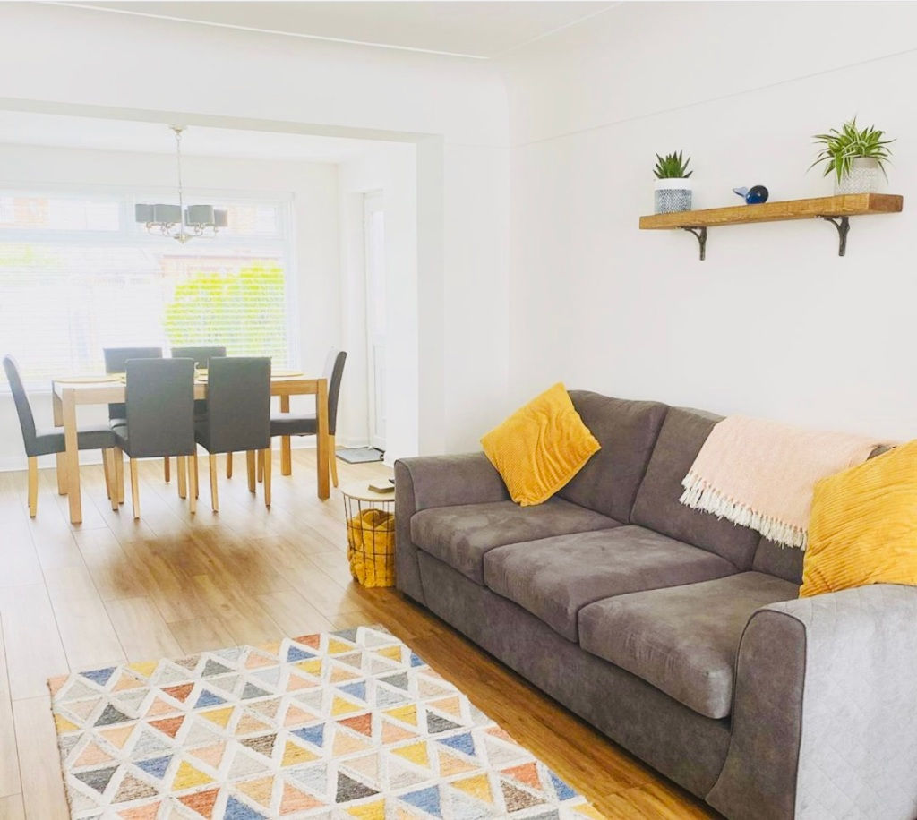 bright and sunny living room in Liverpool home