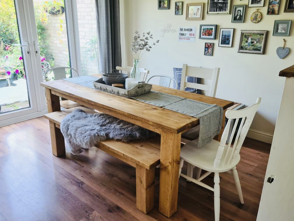 Solid Wood Dining Table in Kitchen Diner