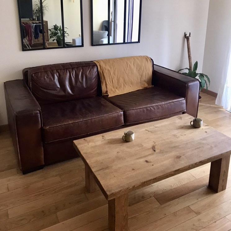 Solid wood coffee table in living room