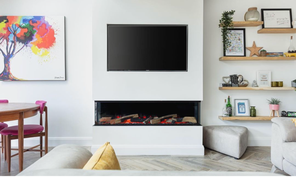 graduated wooden alcove shelves in white living room with modern fireplace.