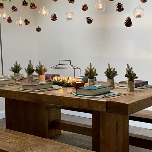 solid wood farmhouse style dining table and benches
