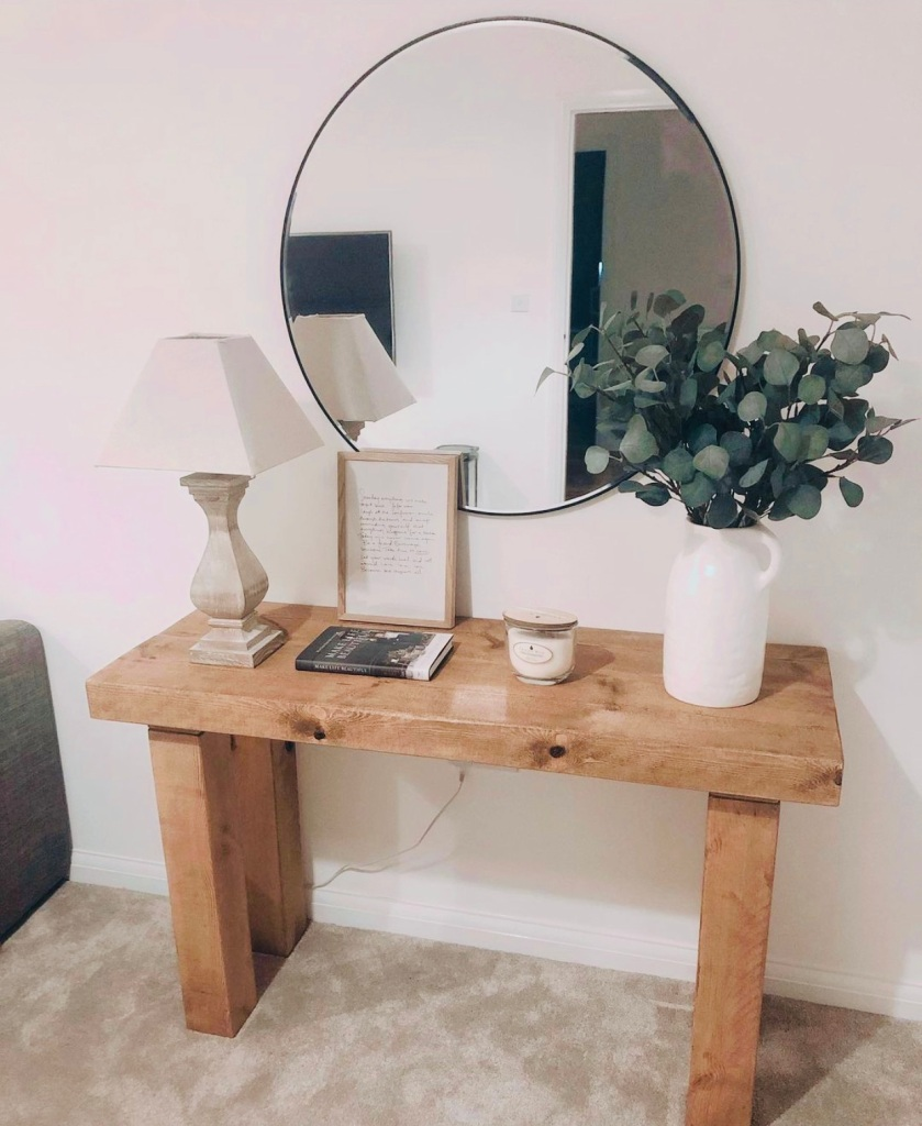 Rustic Wood Console Table in neutral home